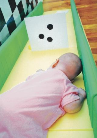 En las primeras semanas de vida, María recibe oportunidad para ver diferentes cantidades de puntos